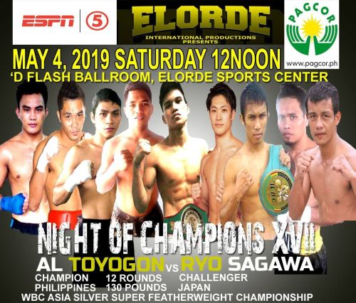 Gabriel Bebot Elorde's boxing show fight poster for May 4 at Elorde Sports Complex