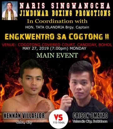 Bohol's Boxing Enkwentro Sa Coctong II May 27. Fights begin at 7 PM