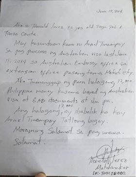 Letter of Ronald Jerez to Arnel Tinampay
