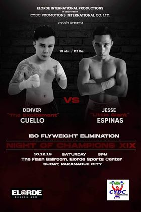 Cuelo to face Espinas in an eliminator on Oct. 12