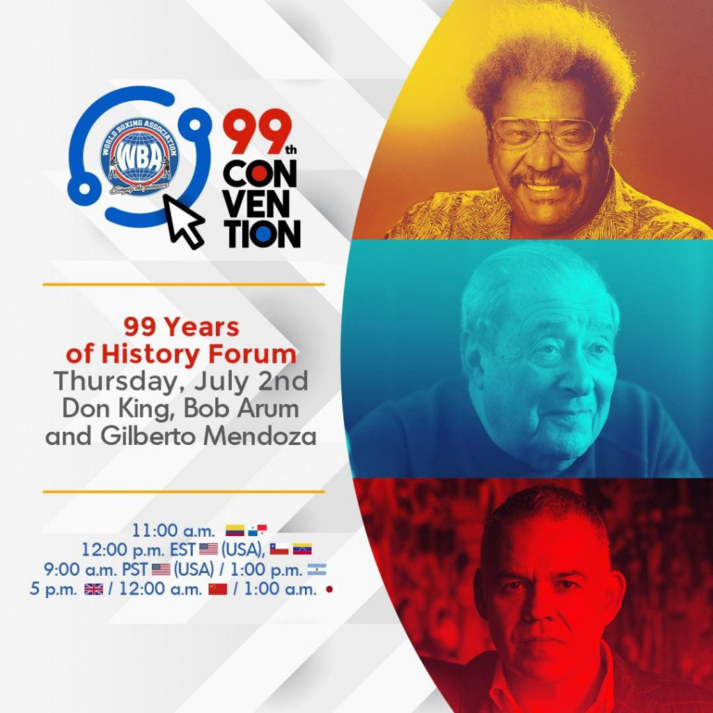 Don King will host, together with Bob Arum, a forum at the WBA 99th Convention