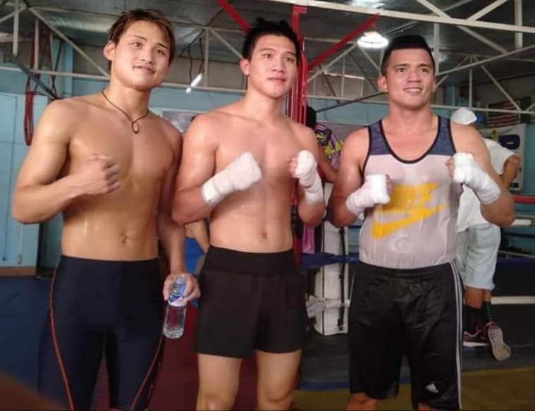 Hiroto Kyoguchi (left)pose with Carl James Martin and Cris Paulino after sparring session at Highland Boxing gym in Manila recently
