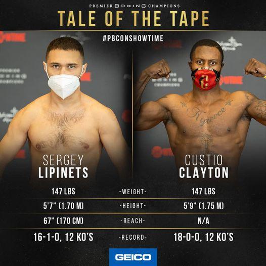 Sergey Lipinets vs Custio Clayton for interim IBF 147 Belt
