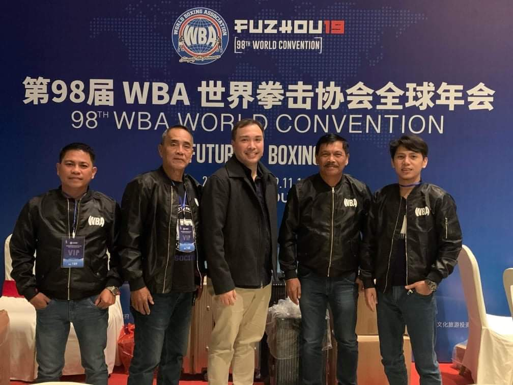 Photos: 98th WBA Convention Philippines delegates who attended the WBA Convention in Fuzhou China last November 7 to 14 Headed by Chairman Abraham Mitra from L-R Referee Judge Noel Haduca, Referee Vier Abainza, Judge Gregorio Ortega, and Referee Judge Gerald Bassig